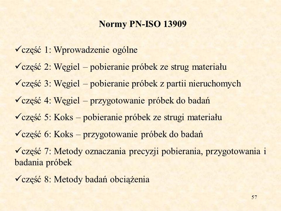 57 Normy PN-ISO 13909 część 1: Wprowadzenie ogólne część 2: Węgiel – pobieranie próbek ze strug materiału część 3: Węgiel – pobieranie próbek z partii
