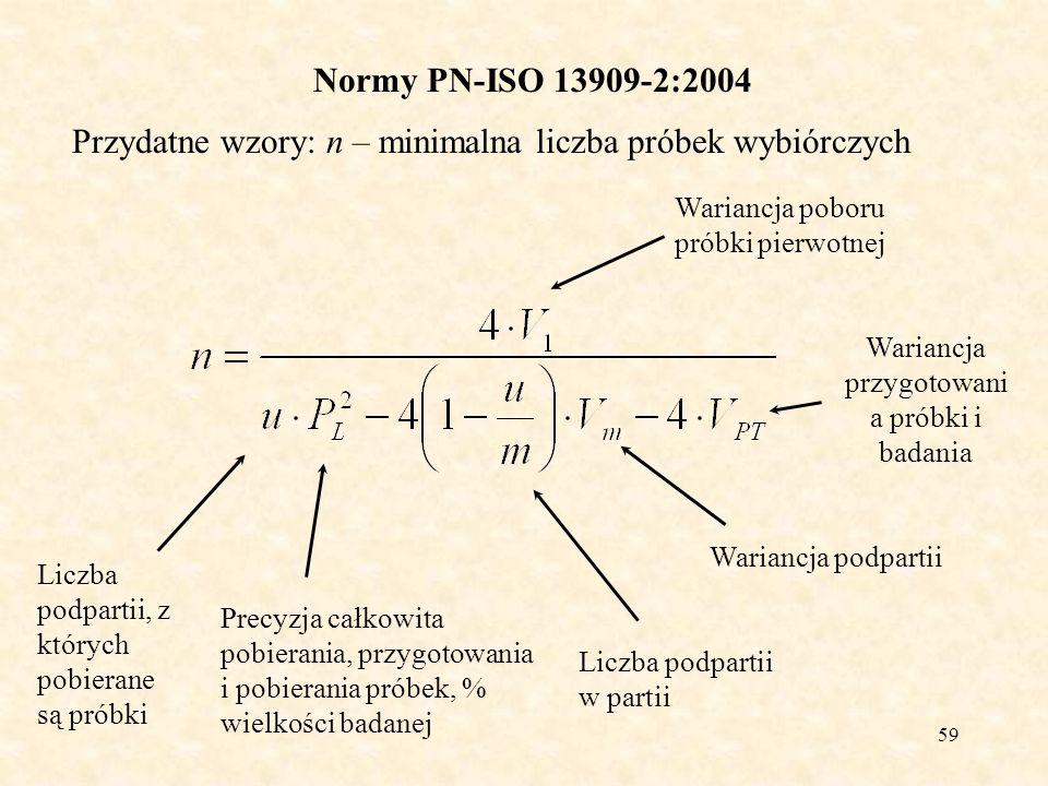 59 Normy PN-ISO 13909-2:2004 Przydatne wzory: n – minimalna liczba próbek wybiórczych Wariancja poboru próbki pierwotnej Liczba podpartii, z których p