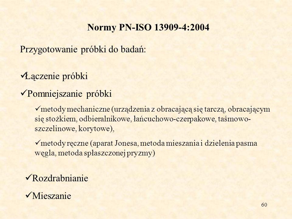 60 Normy PN-ISO 13909-4:2004 Przygotowanie próbki do badań: Łączenie próbki Pomniejszanie próbki metody mechaniczne (urządzenia z obracającą się tarcz