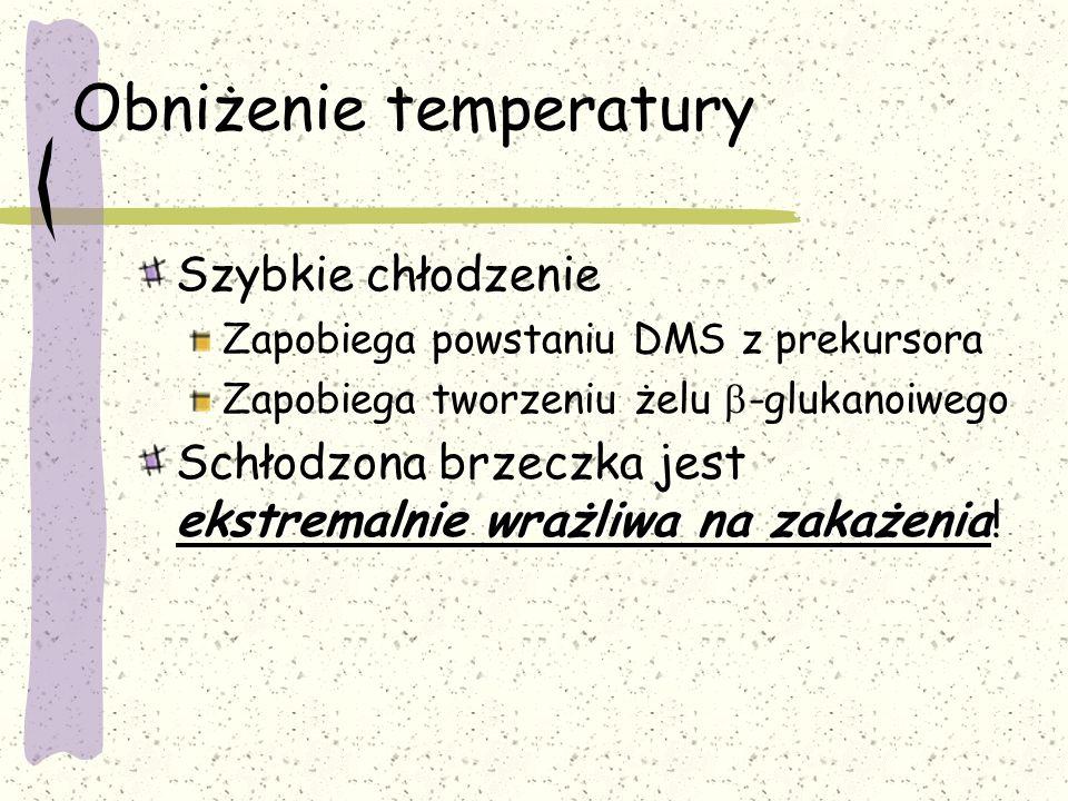 Obniżenie temperatury Szybkie chłodzenie Zapobiega powstaniu DMS z prekursora Zapobiega tworzeniu żelu -glukanoiwego ekstremalnie wrażliwa na zakażeni