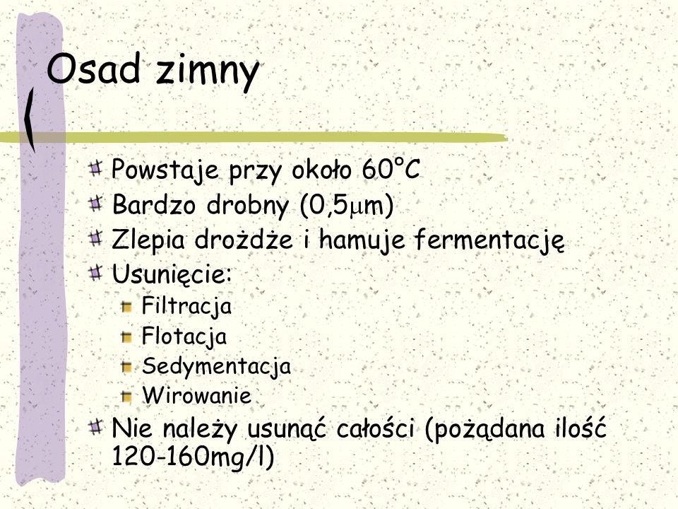 Osad zimny Powstaje przy około 60°C Bardzo drobny (0,5 m) Zlepia drożdże i hamuje fermentację Usunięcie: Filtracja Flotacja Sedymentacja Wirowanie Nie