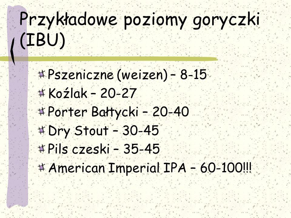 Przykładowe poziomy goryczki (IBU) Pszeniczne (weizen) – 8-15 Koźlak – 20-27 Porter Bałtycki – 20-40 Dry Stout – 30-45 Pils czeski – 35-45 American Im