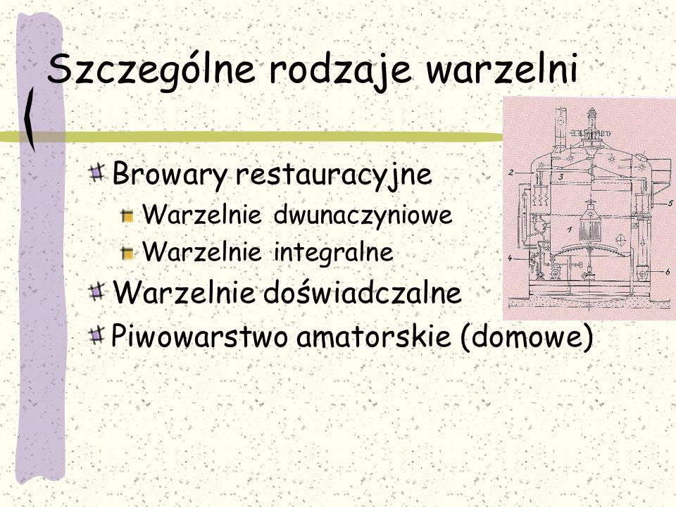 Szczególne rodzaje warzelni Browary restauracyjne Warzelnie dwunaczyniowe Warzelnie integralne Warzelnie doświadczalne Piwowarstwo amatorskie (domowe)