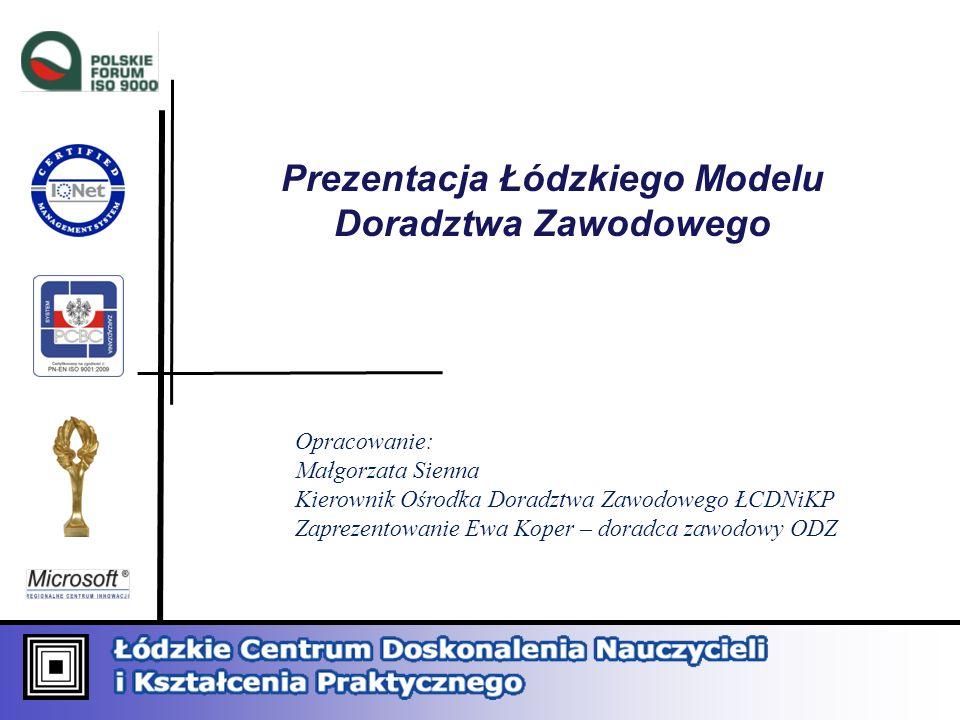 Prezentacja Łódzkiego Modelu Doradztwa Zawodowego Opracowanie: Małgorzata Sienna Kierownik Ośrodka Doradztwa Zawodowego ŁCDNiKP Zaprezentowanie Ewa Ko