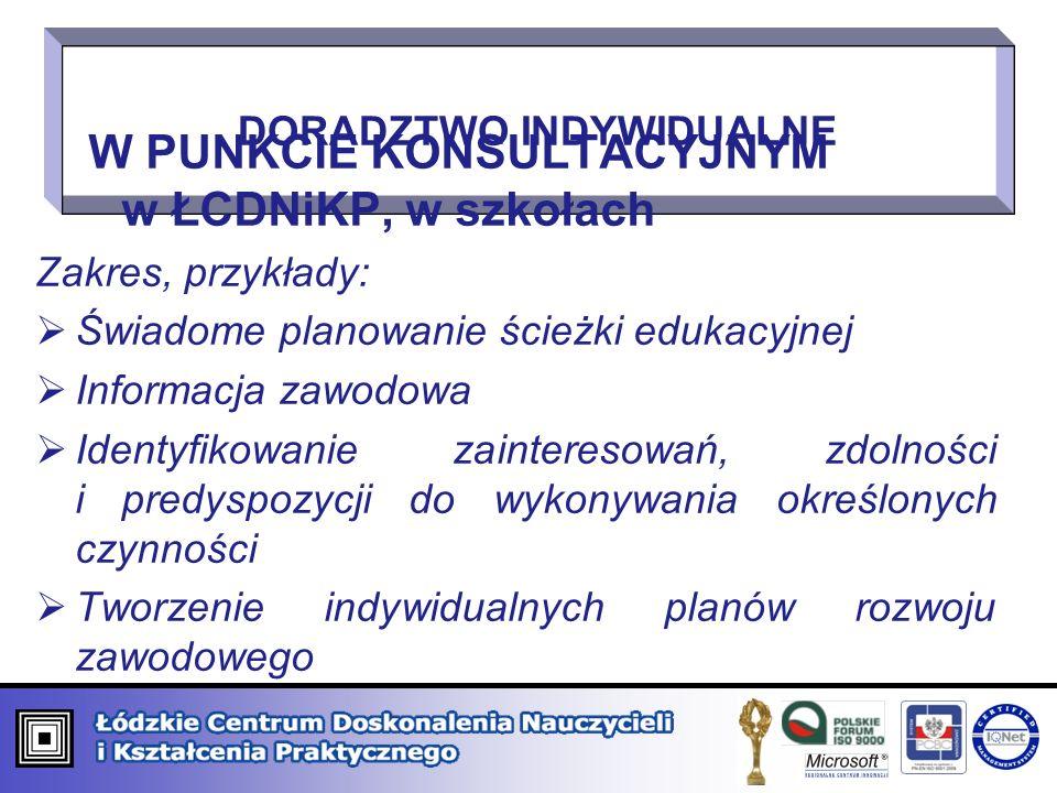 W PUNKCIE KONSULTACYJNYM w ŁCDNiKP, w szkołach Zakres, przykłady: Świadome planowanie ścieżki edukacyjnej Informacja zawodowa Identyfikowanie zaintere