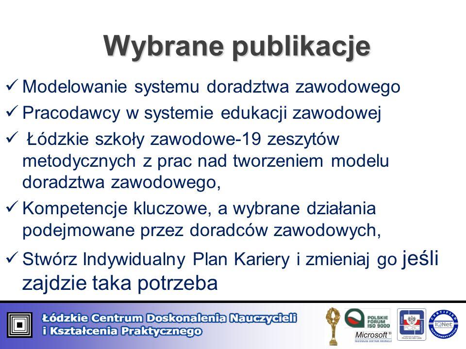 Wybrane publikacje Modelowanie systemu doradztwa zawodowego Pracodawcy w systemie edukacji zawodowej Łódzkie szkoły zawodowe-19 zeszytów metodycznych