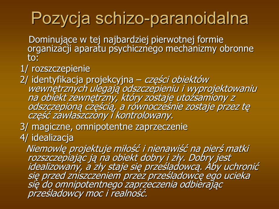 Pozycja schizo-paranoidalna Dominujące w tej najbardziej pierwotnej formie organizacji aparatu psychicznego mechanizmy obronne to: Dominujące w tej na