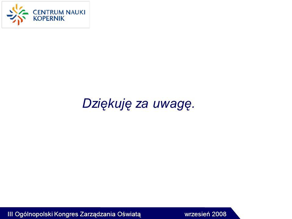 Dziękuję za uwagę. III Ogólnopolski Kongres Zarządzania Oświatą wrzesień 2008