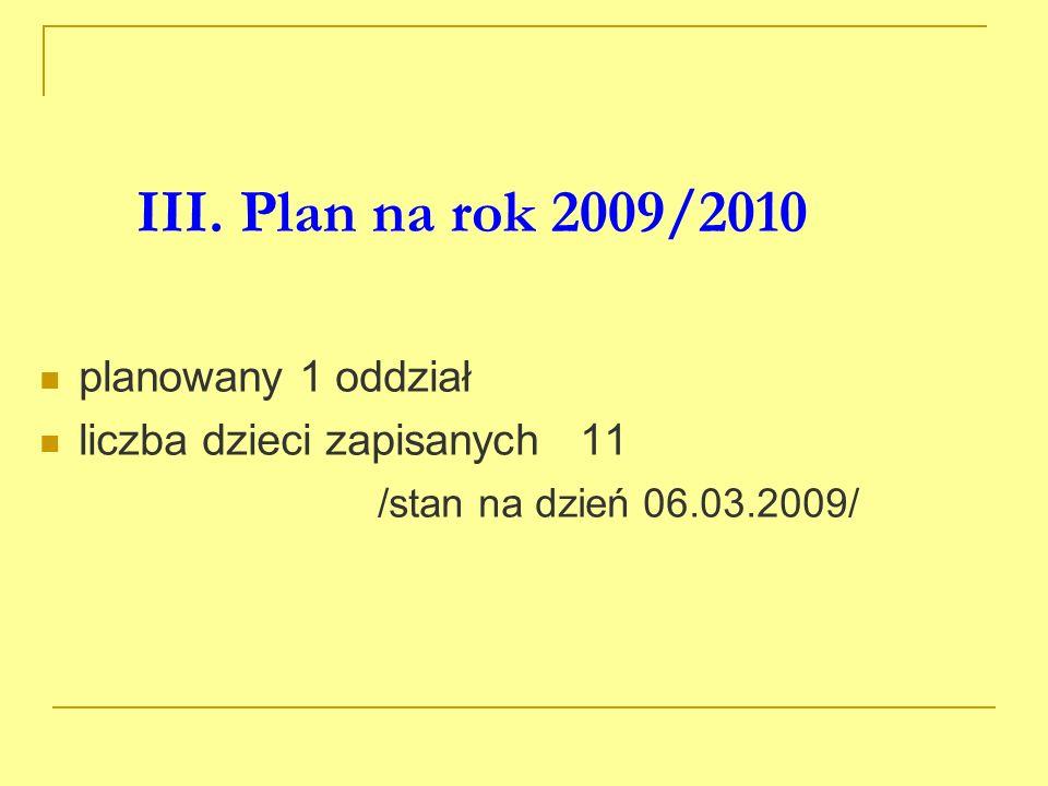 III. Plan na rok 2009/2010 planowany 1 oddział liczba dzieci zapisanych 11 /stan na dzień 06.03.2009/