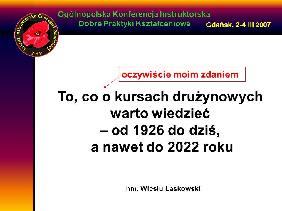 Ogólnopolska Konferencja Instruktorska Dobre Praktyki Kształceniowe Gdańsk, 2-4 III 2007 To, co o kursach drużynowych warto wiedzieć – od 1926 do dziś, a nawet do 2022 roku oczywiście moim zdaniem hm.