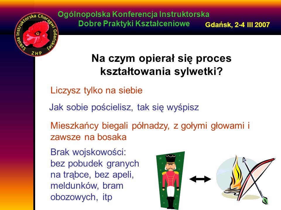 Ogólnopolska Konferencja Instruktorska Dobre Praktyki Kształceniowe Gdańsk, 2-4 III 2007 Na czym opierał się proces kształtowania sylwetki.