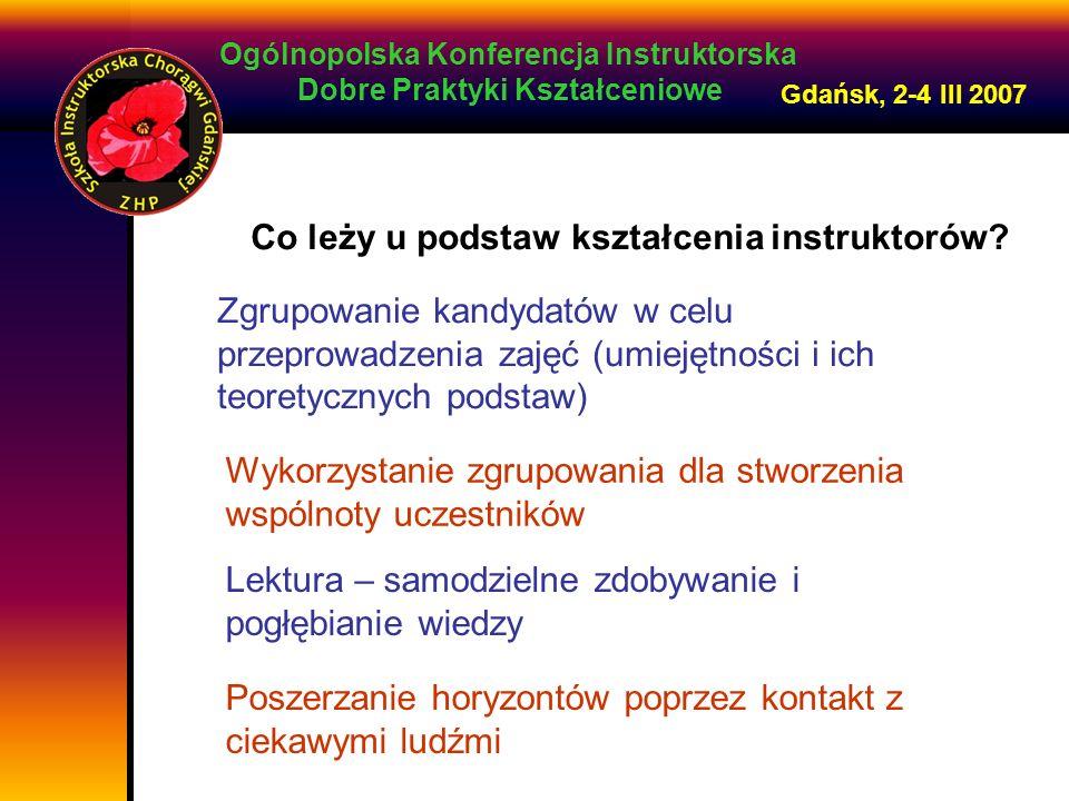 Ogólnopolska Konferencja Instruktorska Dobre Praktyki Kształceniowe Gdańsk, 2-4 III 2007 Co leży u podstaw kształcenia instruktorów.