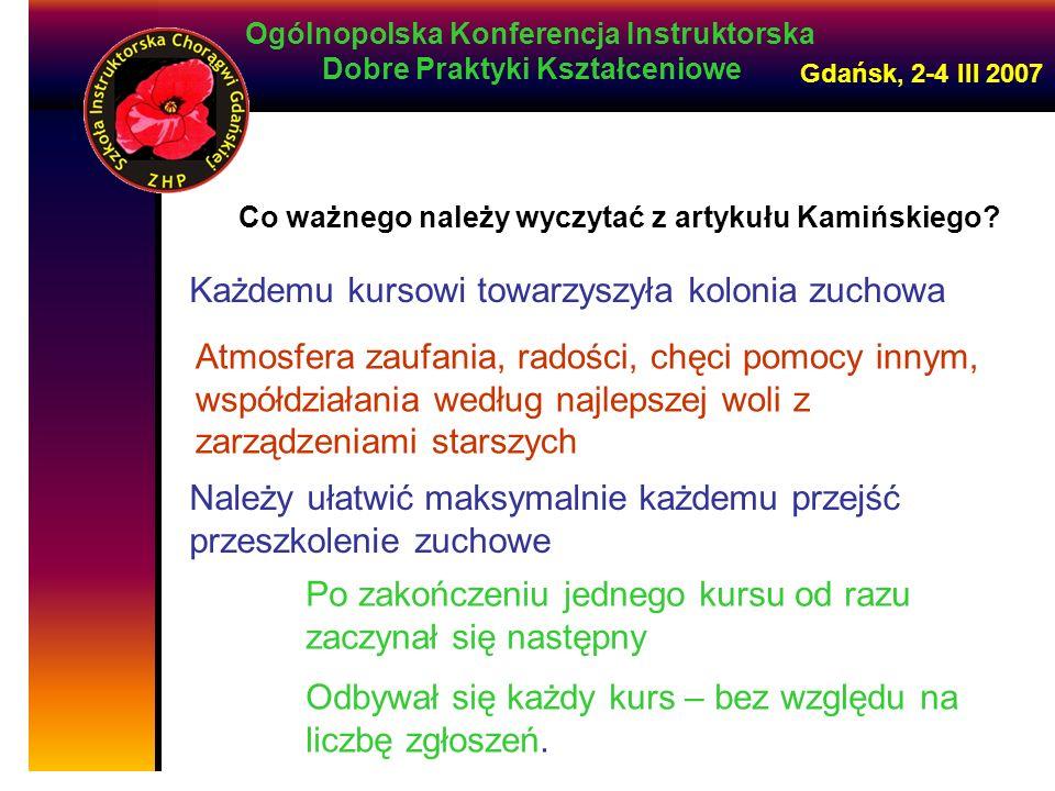 Ogólnopolska Konferencja Instruktorska Dobre Praktyki Kształceniowe Gdańsk, 2-4 III 2007 Co ważnego należy wyczytać z artykułu Kamińskiego.