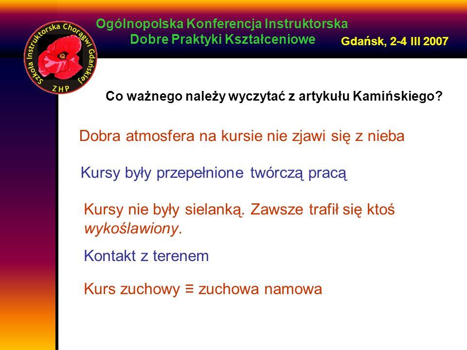 Ogólnopolska Konferencja Instruktorska Dobre Praktyki Kształceniowe Gdańsk, 2-4 III 2007 Dobra atmosfera na kursie nie zjawi się z nieba Kursy były przepełnione twórczą pracą Kursy nie były sielanką.