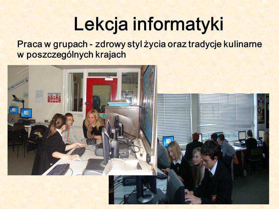Lekcja informatyki Praca w grupach - zdrowy styl życia oraz tradycje kulinarne w poszczególnych krajach