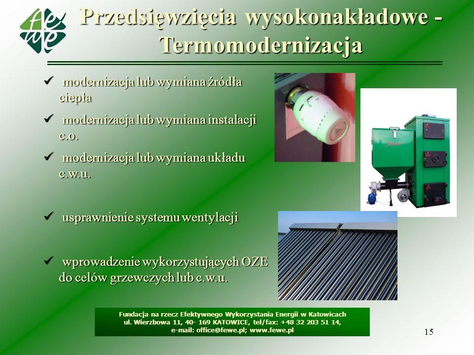 15 Przedsięwzięcia wysokonakładowe - Termomodernizacja Fundacja na rzecz Efektywnego Wykorzystania Energii w Katowicach ul. Wierzbowa 11, 40- 169 KATO