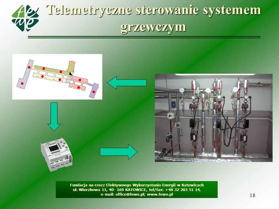 18 Telemetryczne sterowanie systemem grzewczym Fundacja na rzecz Efektywnego Wykorzystania Energii w Katowicach ul. Wierzbowa 11, 40- 169 KATOWICE, te