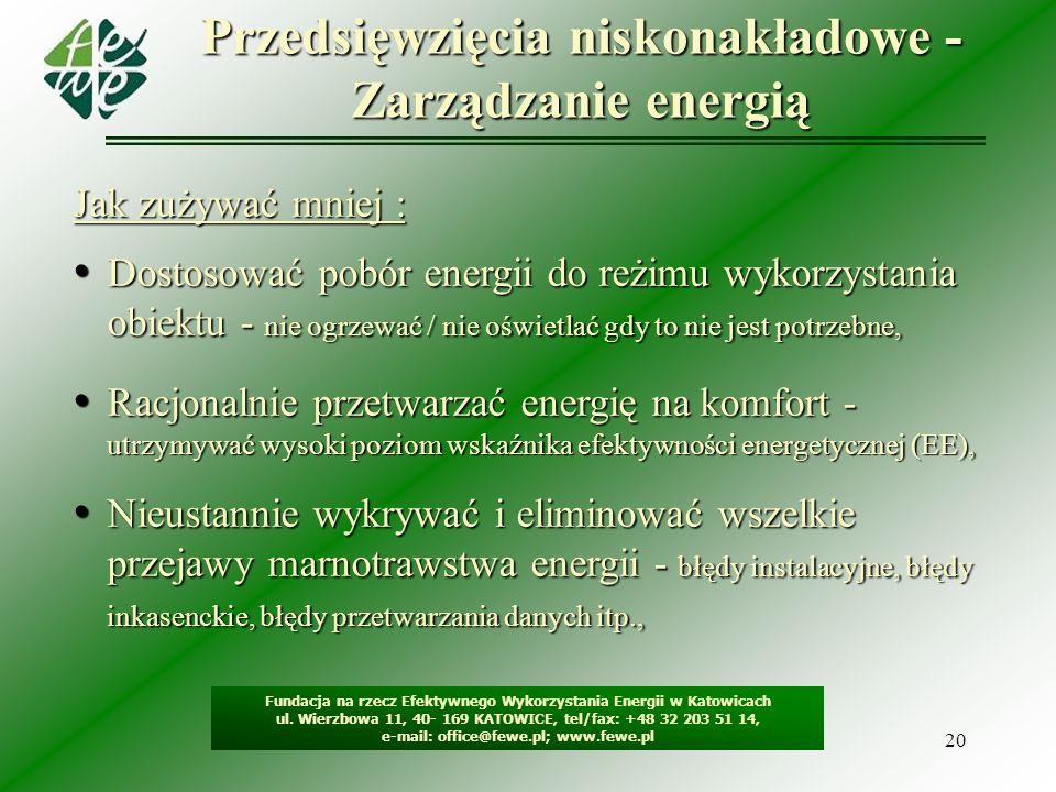 20 Przedsięwzięcia niskonakładowe - Zarządzanie energią Fundacja na rzecz Efektywnego Wykorzystania Energii w Katowicach ul. Wierzbowa 11, 40- 169 KAT