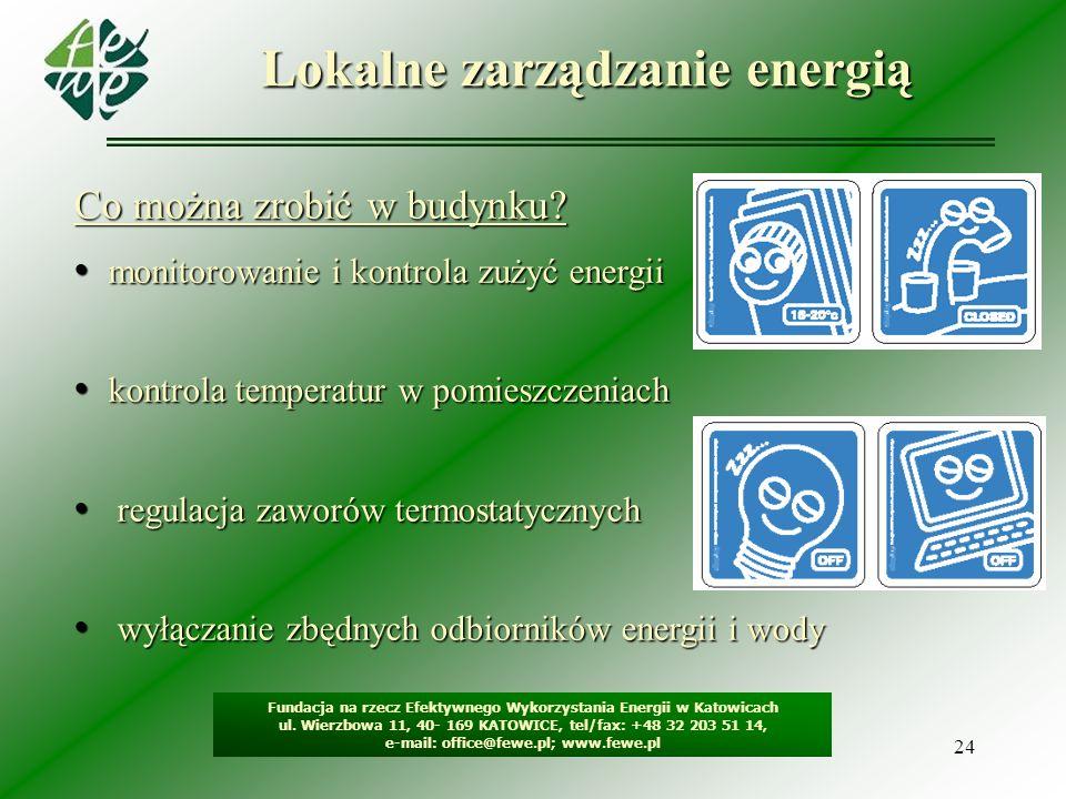 24 Lokalne zarządzanie energią Fundacja na rzecz Efektywnego Wykorzystania Energii w Katowicach ul. Wierzbowa 11, 40- 169 KATOWICE, tel/fax: +48 32 20