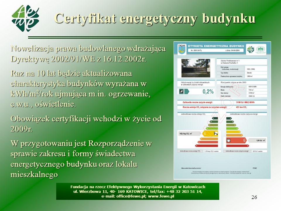 26 Certyfikat energetyczny budynku Fundacja na rzecz Efektywnego Wykorzystania Energii w Katowicach ul. Wierzbowa 11, 40- 169 KATOWICE, tel/fax: +48 3
