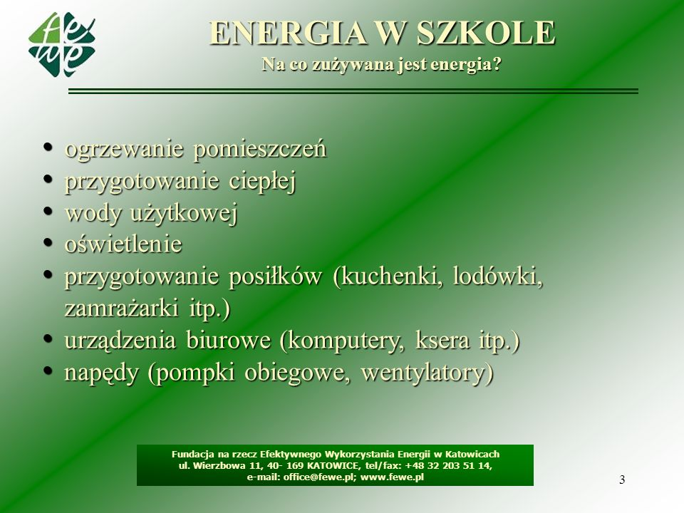 3 ENERGIA W SZKOLE Na co zużywana jest energia? Fundacja na rzecz Efektywnego Wykorzystania Energii w Katowicach ul. Wierzbowa 11, 40- 169 KATOWICE, t