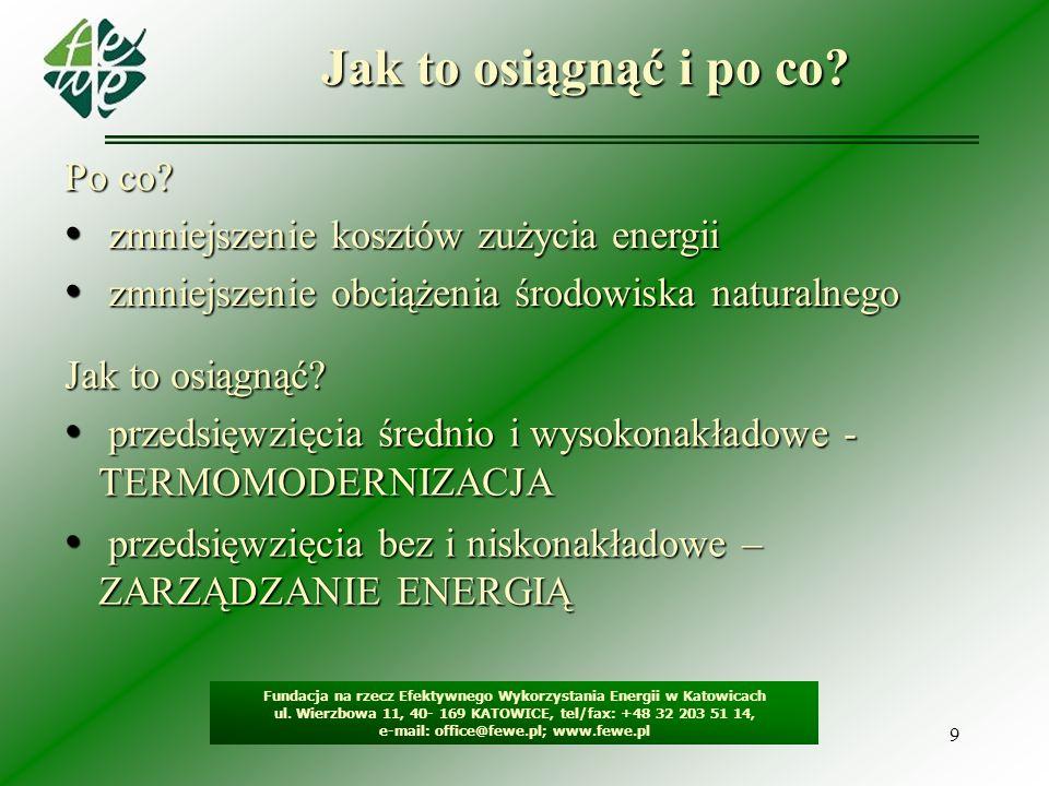9 Jak to osiągnąć i po co? Fundacja na rzecz Efektywnego Wykorzystania Energii w Katowicach ul. Wierzbowa 11, 40- 169 KATOWICE, tel/fax: +48 32 203 51