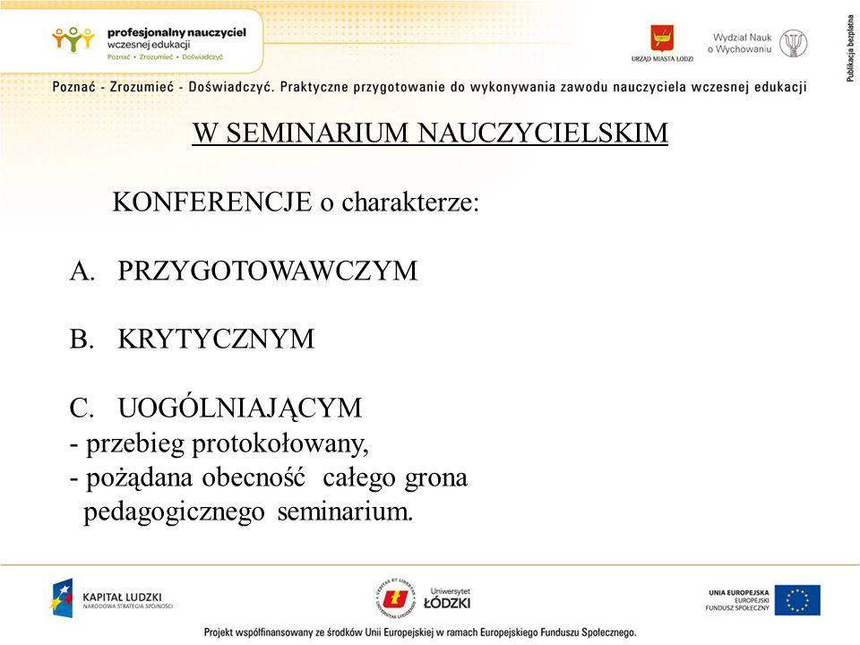 W SEMINARIUM NAUCZYCIELSKIM KONFERENCJE o charakterze: A.PRZYGOTOWAWCZYM B.KRYTYCZNYM C.UOGÓLNIAJĄCYM - przebieg protokołowany, - pożądana obecność całego grona pedagogicznego seminarium.