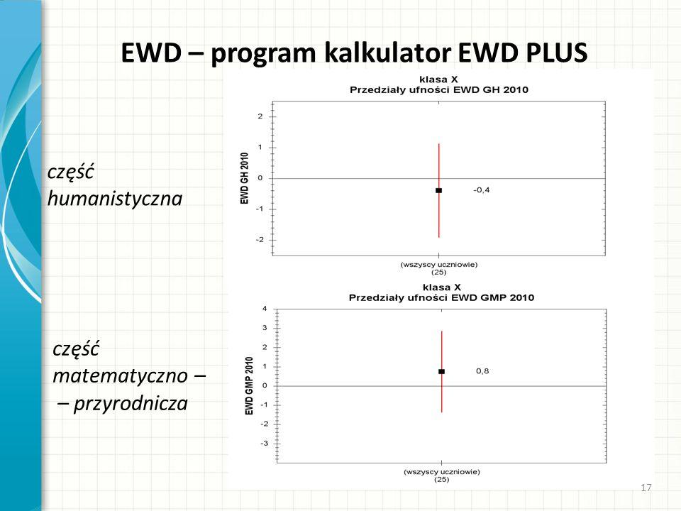EWD – program kalkulator EWD PLUS część humanistyczna część matematyczno – – przyrodnicza 17