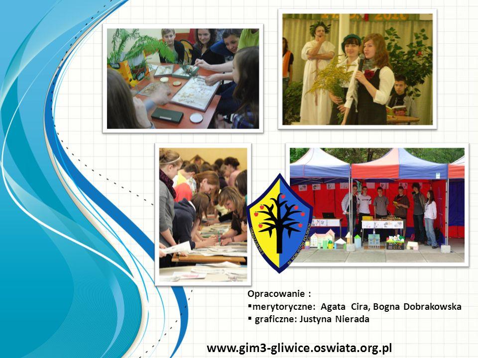 Opracowanie : merytoryczne: Agata Cira, Bogna Dobrakowska graficzne: Justyna Nierada www.gim3-gliwice.oswiata.org.pl