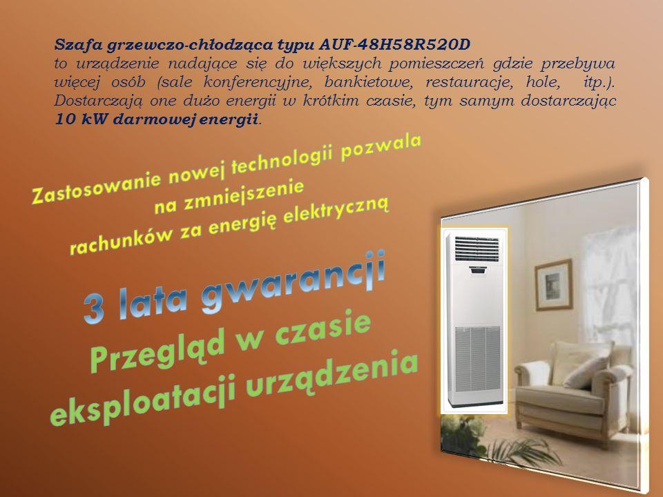 Szafa grzewczo-chłodząca typu AUF-48H58R520D to urządzenie nadające się do większych pomieszczeń gdzie przebywa więcej osób (sale konferencyjne, bankietowe, restauracje, hole, itp.).