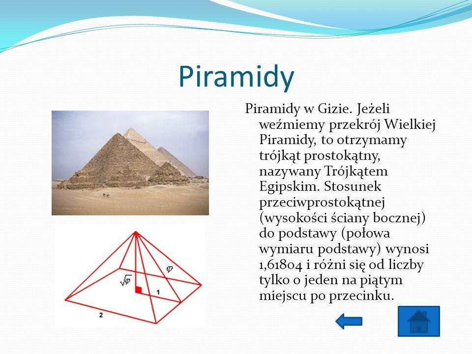 Piramidy Piramidy w Gizie. Jeżeli weźmiemy przekrój Wielkiej Piramidy, to otrzymamy trójkąt prostokątny, nazywany Trójkątem Egipskim. Stosunek przeciw