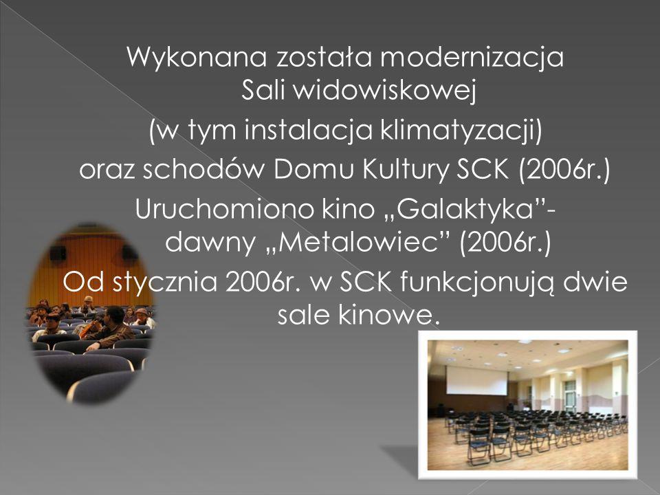 Wykonana została modernizacja Sali widowiskowej (w tym instalacja klimatyzacji) oraz schodów Domu Kultury SCK (2006r.) Uruchomiono kino Galaktyka- daw