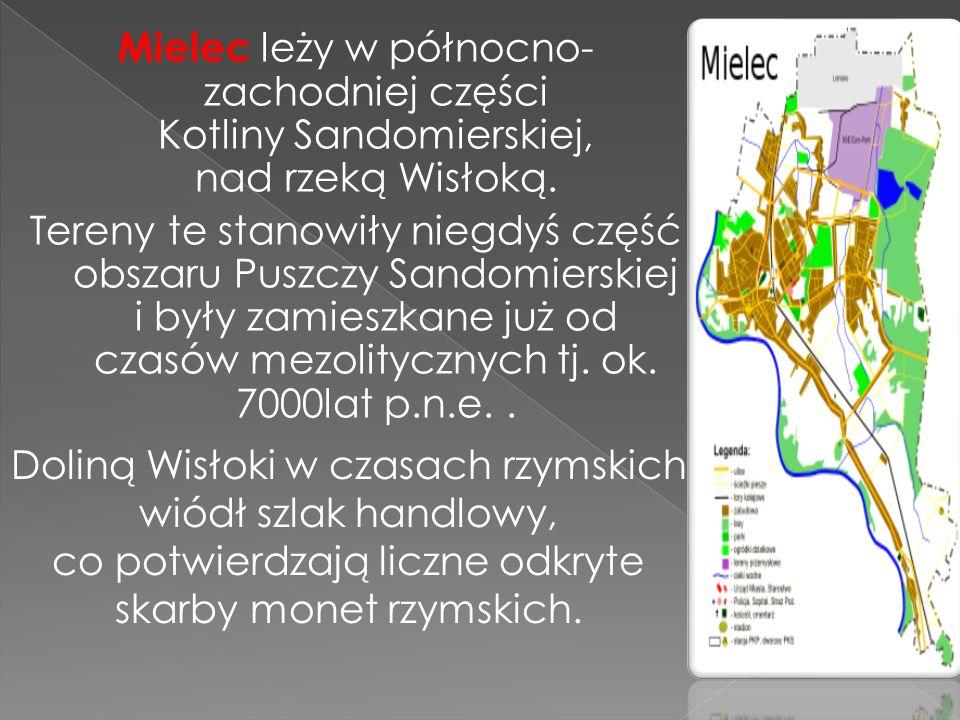 Mielec leży w północno- zachodniej części Kotliny Sandomierskiej, nad rzeką Wisłoką. Tereny te stanowiły niegdyś część obszaru Puszczy Sandomierskiej