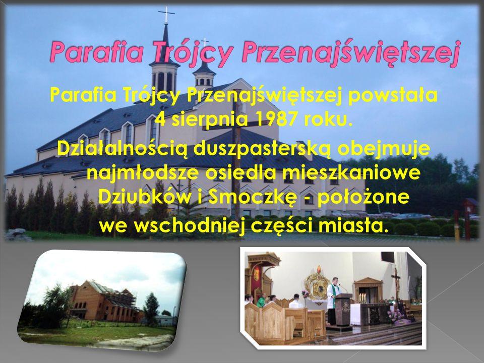 Parafia Trójcy Przenajświętszej powstała 4 sierpnia 1987 roku. Działalnością duszpasterską obejmuje najmłodsze osiedla mieszkaniowe Dziubków i Smoczkę