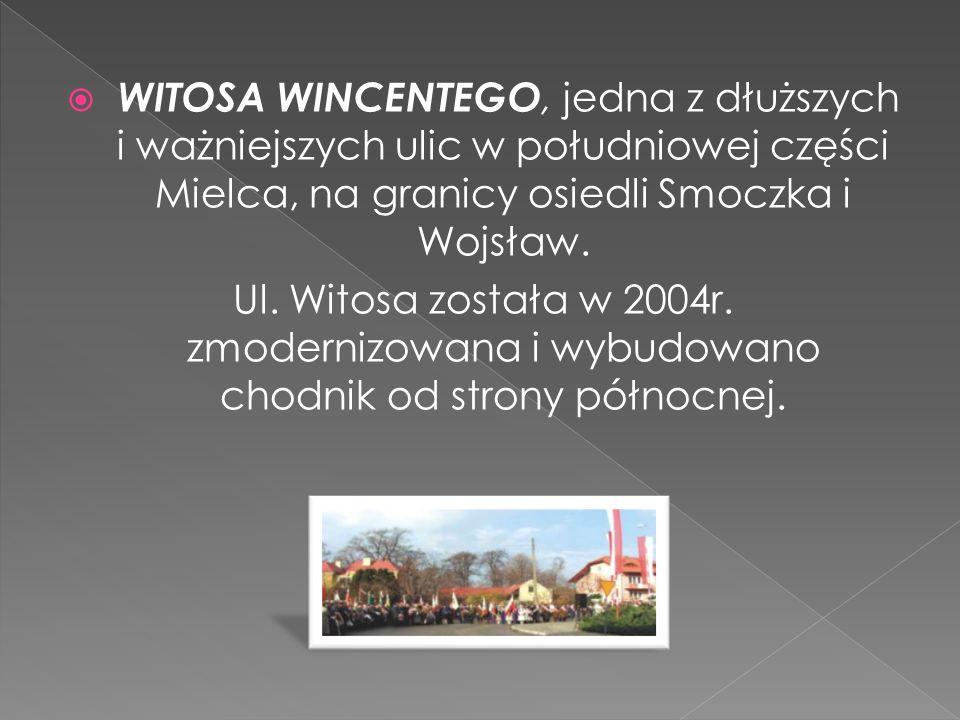 WITOSA WINCENTEGO, jedna z dłuższych i ważniejszych ulic w południowej części Mielca, na granicy osiedli Smoczka i Wojsław. Ul. Witosa została w 2004r
