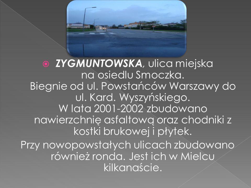 ZYGMUNTOWSKA, ulica miejska na osiedlu Smoczka. Biegnie od ul. Powstańców Warszawy do ul. Kard. Wyszyńskiego. W lata 2001-2002 zbudowano nawierzchnię