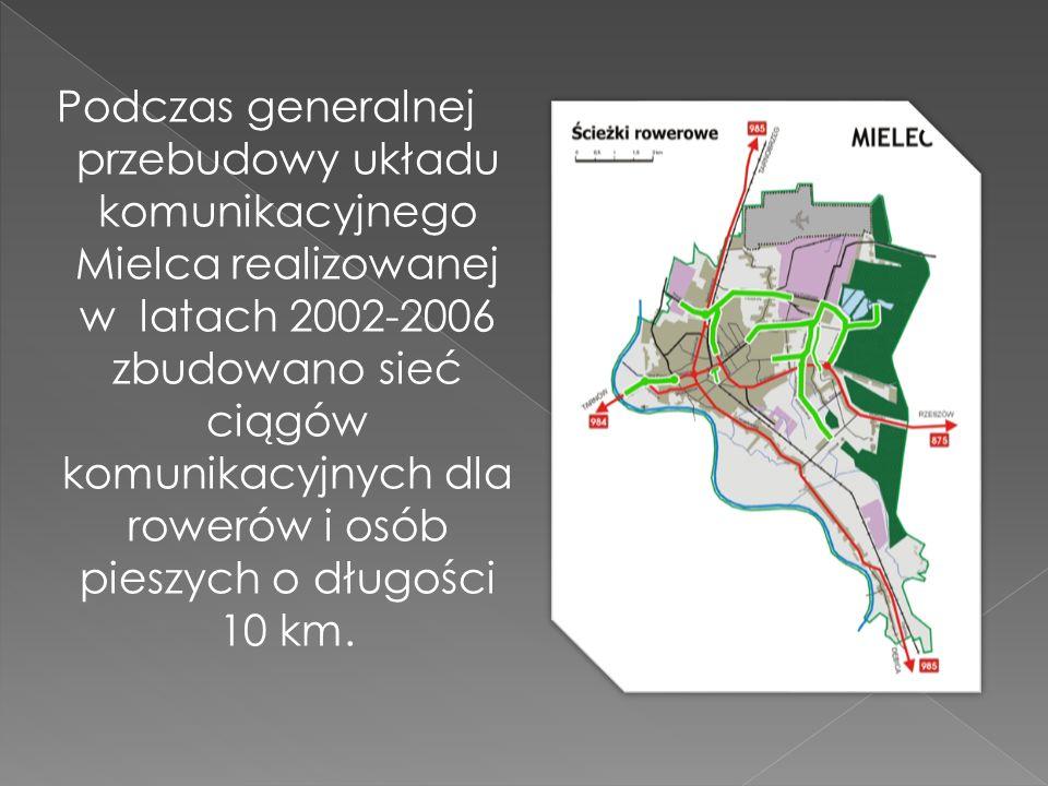 Podczas generalnej przebudowy układu komunikacyjnego Mielca realizowanej w latach 2002-2006 zbudowano sieć ciągów komunikacyjnych dla rowerów i osób p