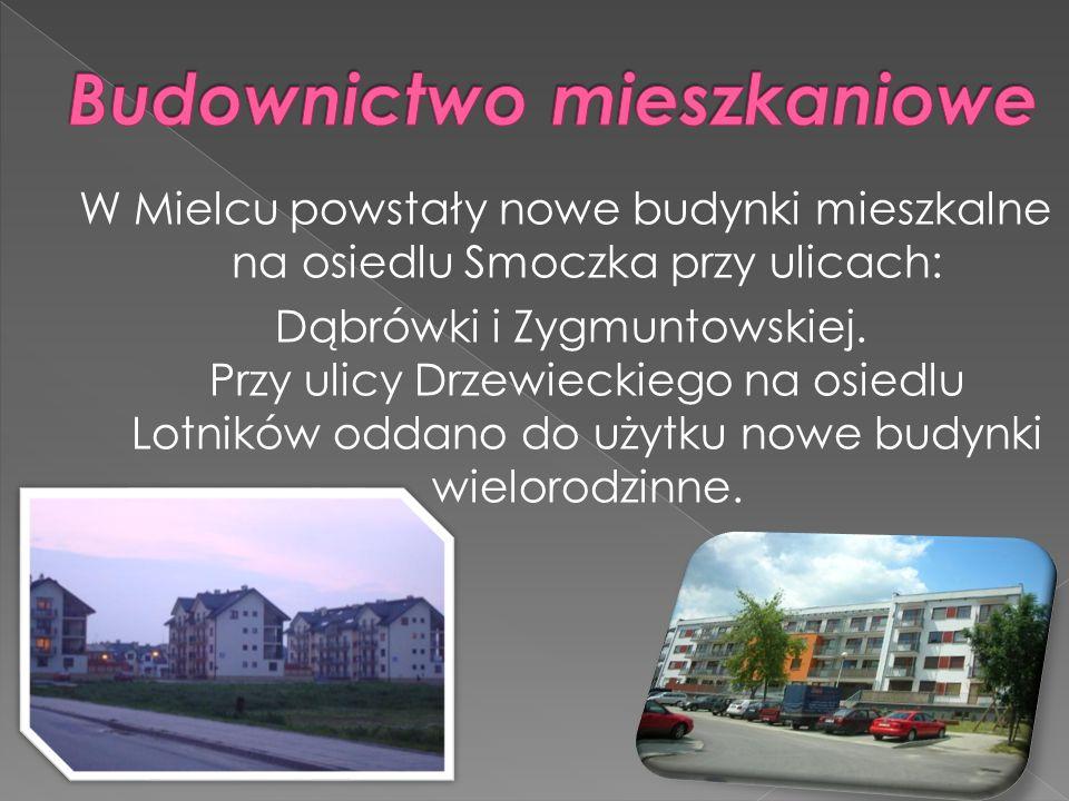 W Mielcu powstały nowe budynki mieszkalne na osiedlu Smoczka przy ulicach: Dąbrówki i Zygmuntowskiej. Przy ulicy Drzewieckiego na osiedlu Lotników odd
