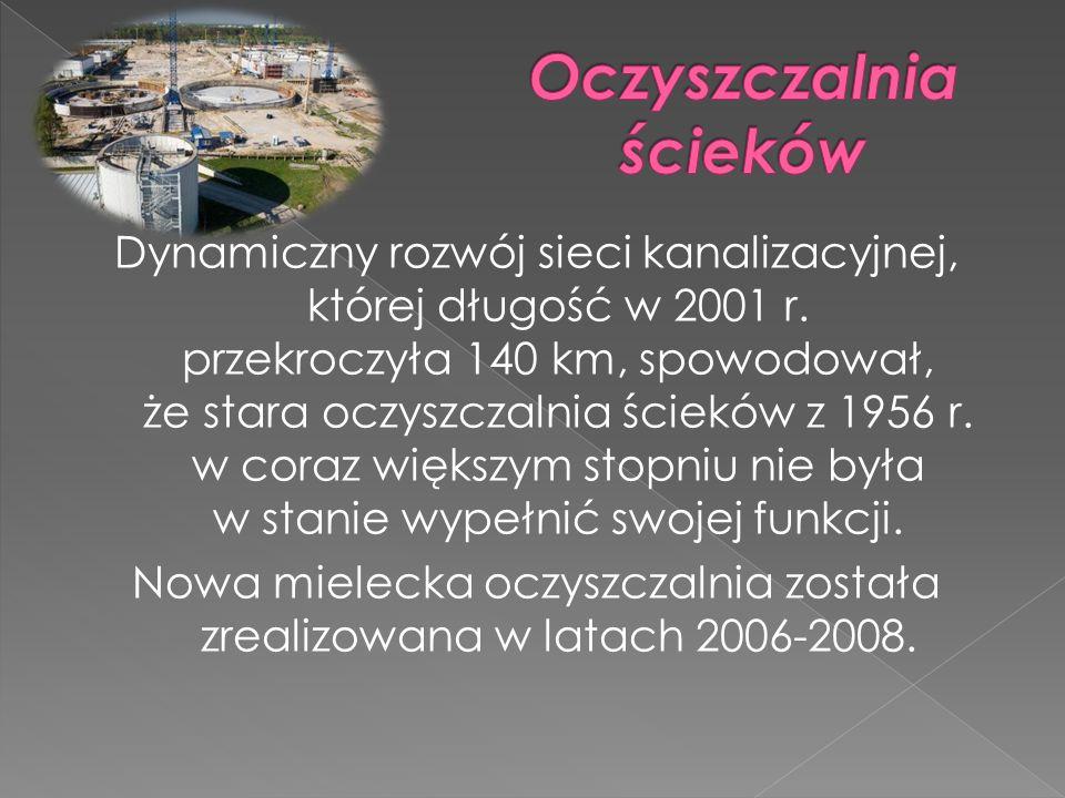Dynamiczny rozwój sieci kanalizacyjnej, której długość w 2001 r. przekroczyła 140 km, spowodował, że stara oczyszczalnia ścieków z 1956 r. w coraz wię