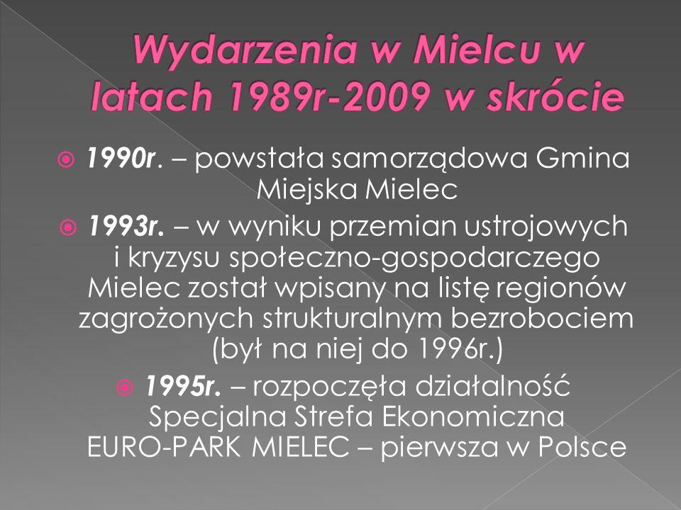 1990r. – powstała samorządowa Gmina Miejska Mielec 1993r. – w wyniku przemian ustrojowych i kryzysu społeczno-gospodarczego Mielec został wpisany na l