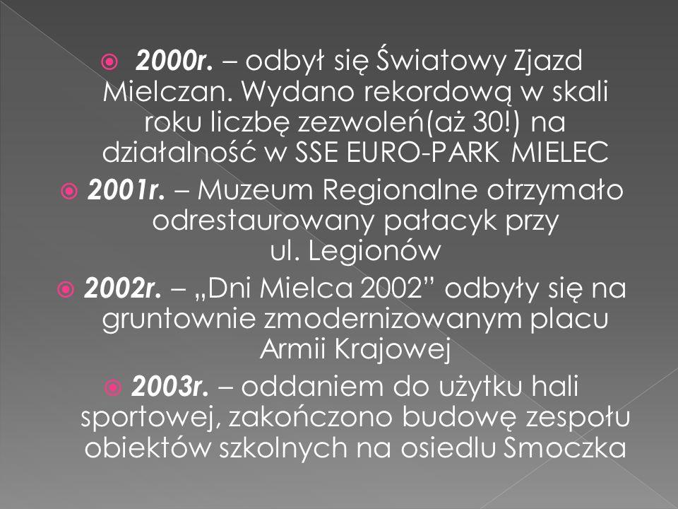 2000r. – odbył się Światowy Zjazd Mielczan. Wydano rekordową w skali roku liczbę zezwoleń(aż 30!) na działalność w SSE EURO-PARK MIELEC 2001r. – Muzeu