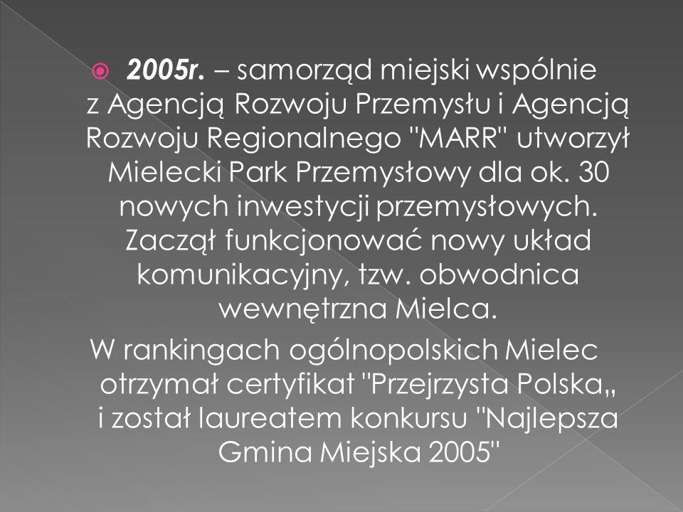 2005r. – samorząd miejski wspólnie z Agencją Rozwoju Przemysłu i Agencją Rozwoju Regionalnego
