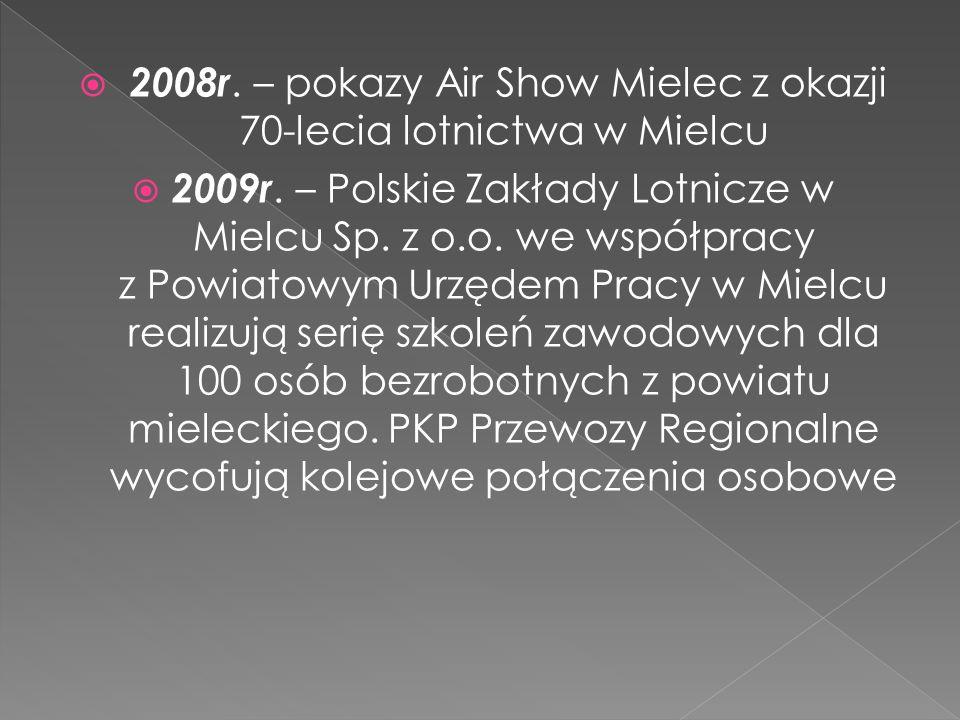 2008r. – pokazy Air Show Mielec z okazji 70-lecia lotnictwa w Mielcu 2009r. – Polskie Zakłady Lotnicze w Mielcu Sp. z o.o. we współpracy z Powiatowym