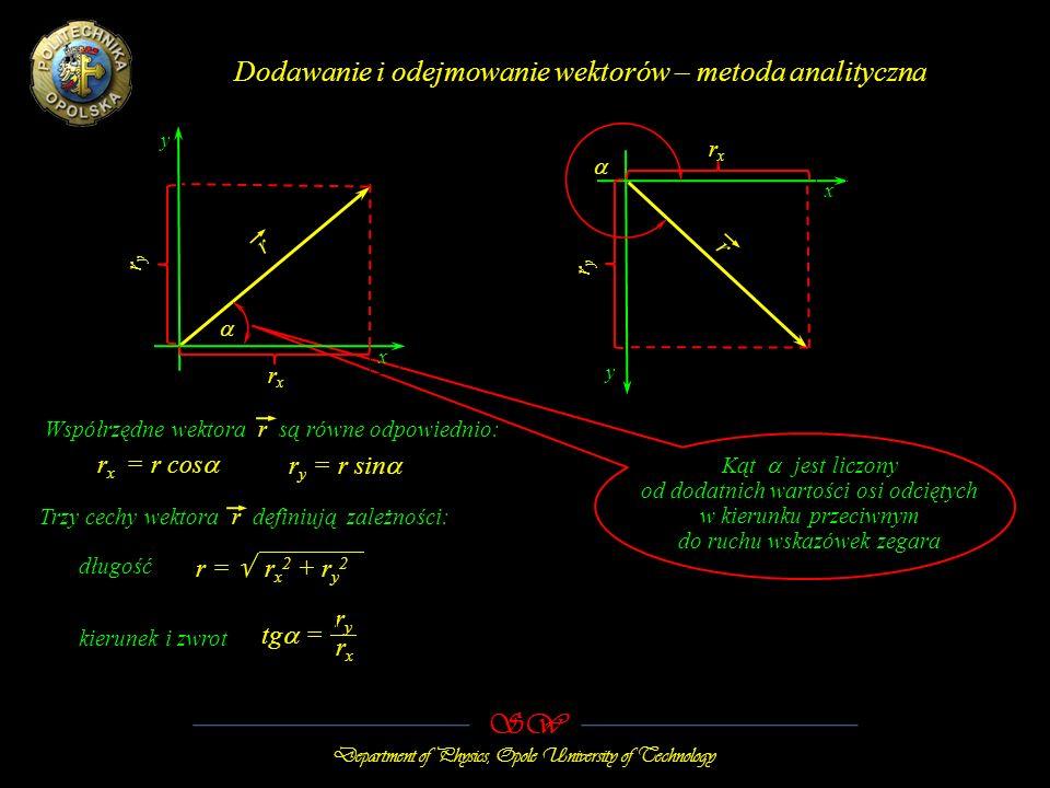 SW Department of Physics, Opole University of Technology Dodawanie i odejmowanie wektorów – metoda analityczna x y r x = r cos r r rxrx ryry rxrx y x ryry r y = r sin r = r x 2 + r y 2 ryry tg = rxrx Współrzędne wektora r są równe odpowiednio: długość kierunek i zwrot Trzy cechy wektora r definiują zależności: Kąt jest liczony od dodatnich wartości osi odciętych w kierunku przeciwnym do ruchu wskazówek zegara