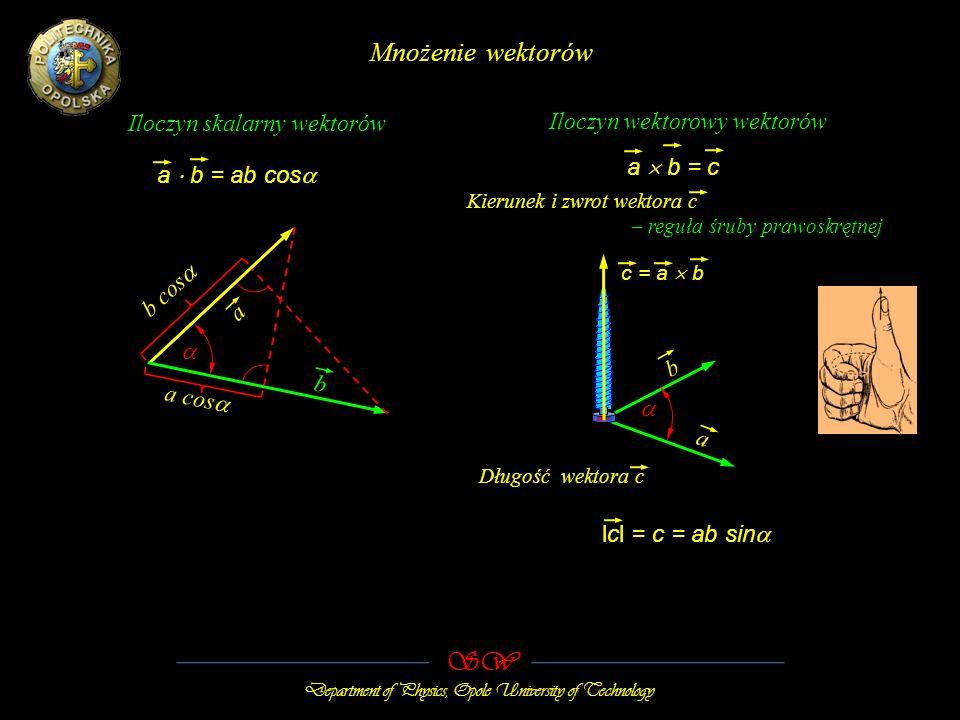 SW Department of Physics, Opole University of Technology Mnożenie wektorów Iloczyn skalarny wektorów Iloczyn wektorowy wektorów a b = ab cos lcl = c = ab sin a b = c a b b cos a cos b a c = a b Kierunek i zwrot wektora c – reguła śruby prawoskrętnej Długość wektora c