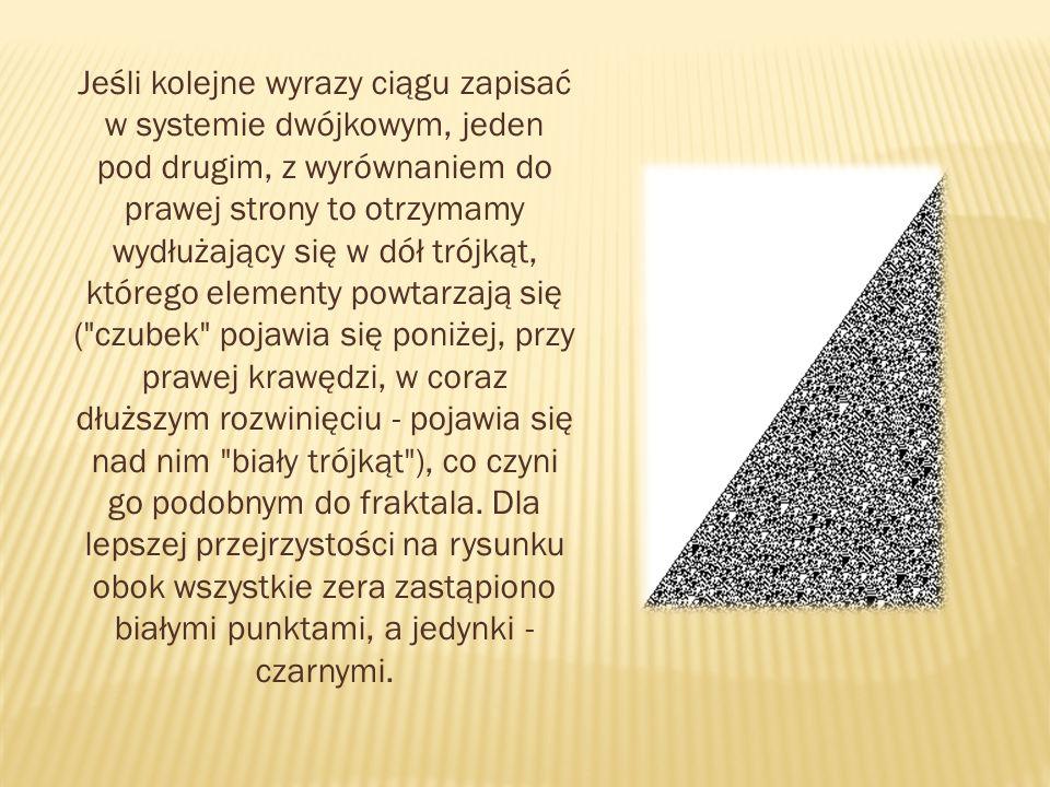 Jeśli kolejne wyrazy ciągu zapisać w systemie dwójkowym, jeden pod drugim, z wyrównaniem do prawej strony to otrzymamy wydłużający się w dół trójkąt,