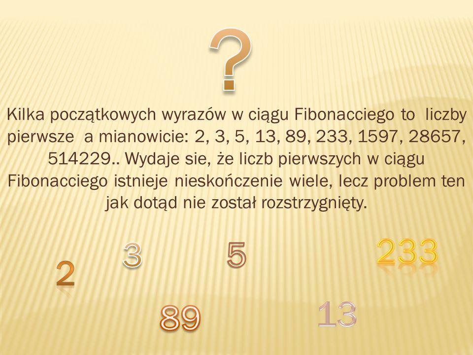 Kilka początkowych wyrazów w ciągu Fibonacciego to liczby pierwsze a mianowicie: 2, 3, 5, 13, 89, 233, 1597, 28657, 514229.. Wydaje sie, że liczb pier