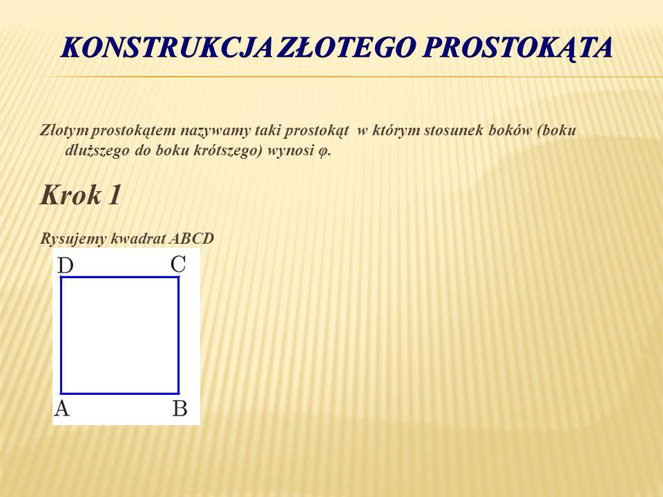 Złotym prostokątem nazywamy taki prostokąt w którym stosunek boków (boku dłuższego do boku krótszego) wynosi φ. Krok 1 Rysujemy kwadrat ABCD