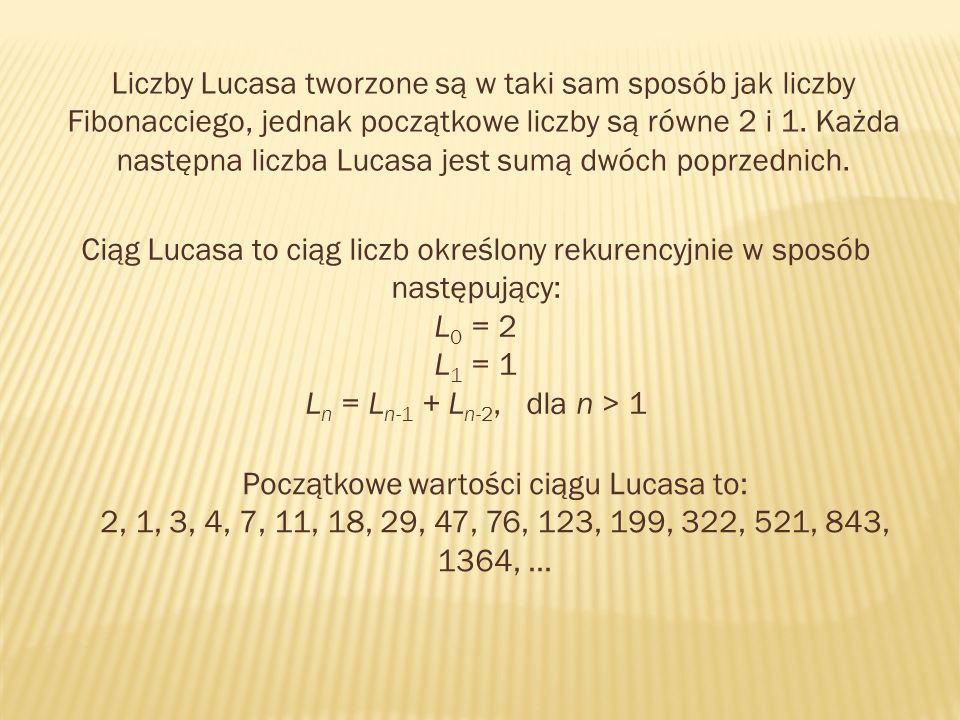 Liczby Lucasa tworzone są w taki sam sposób jak liczby Fibonacciego, jednak początkowe liczby są równe 2 i 1. Każda następna liczba Lucasa jest sumą d