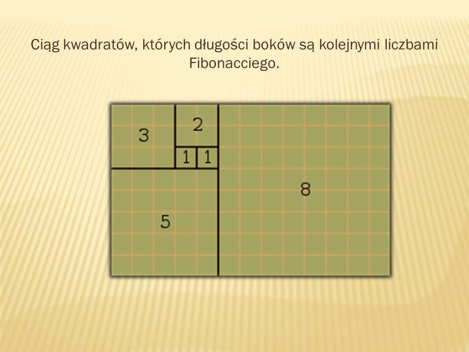 Ciąg kwadratów, których długości boków są kolejnymi liczbami Fibonacciego.